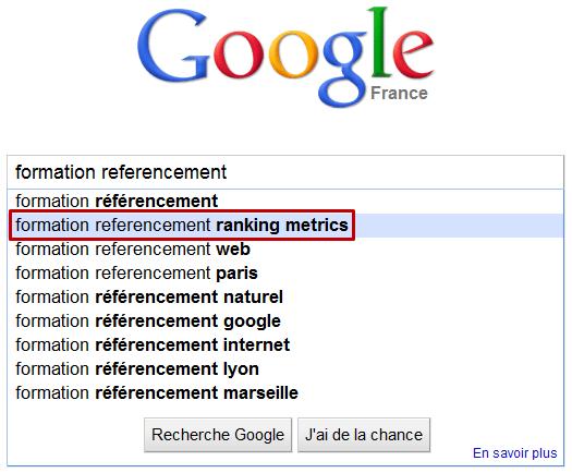 Google Suggest met en avant Ranking Metrics
