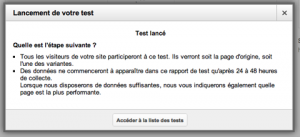 Confirmation de lancement de test