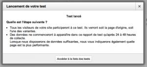 Confirmation de lancement de test
